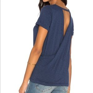 """Chaser """"Cross Back Rolled Sleeve Tee - oasis blue"""""""